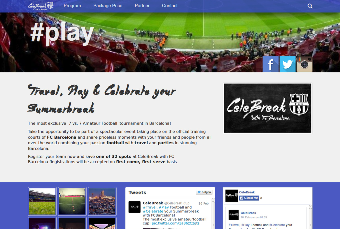 Webseite des CeleBreak Cup: Social Media Streams